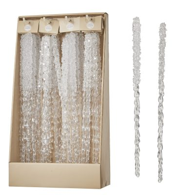 Ornament Icicle white 2 assorted