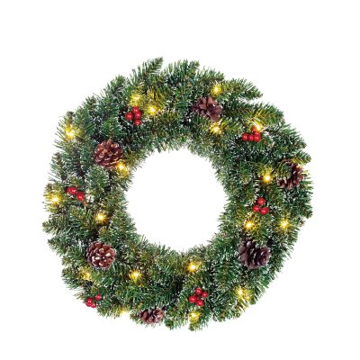 Creston wreath led battery operated green