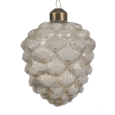 Pinecone White glass antique beads