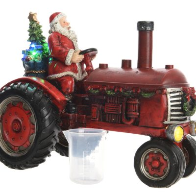 LED scenery polyresin tractor with santa steady BO indoor
