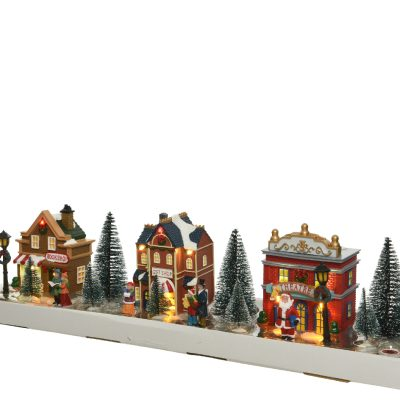 LED scenery plastic set of houses and figurines steady BO indoor