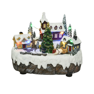 Micro LED scenery polyresin scenery with church steady BO indoor - Christmas Tree
