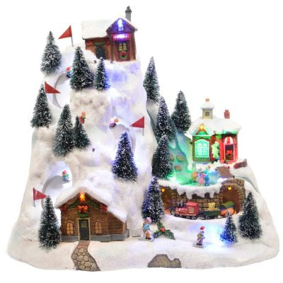 LED scenery gb polyresin skislope w train steady indoor