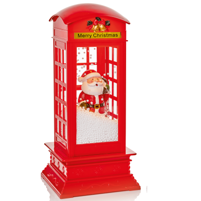 31cm Snowblowing Telephone Box - Red