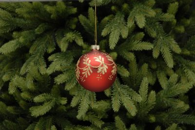 8cm red with gold glitter vine glass ball