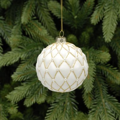 8cm white and gold pillow ball