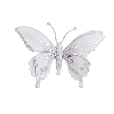 17cm silver clip on butterfly