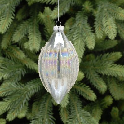 11cm clear iridescent/silver beaded glass olive