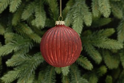 8cm red with glitter ridged glass ball