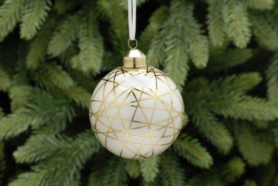 8cm white with gold lines glass ball