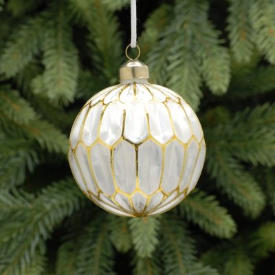 8cm frosted white / gold lines segment glass ball