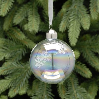 8cm clear iridescent / snowflake glass ball