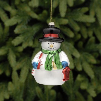 13cm glass snowman with green scarf