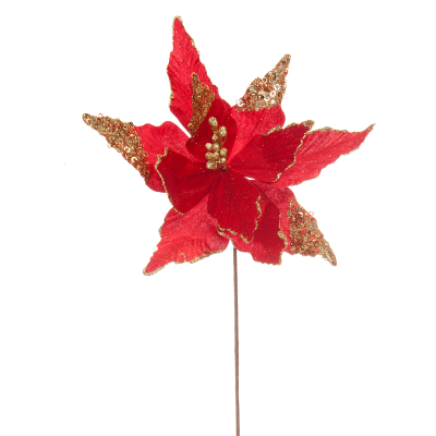 60cm red poinsettia stem with glitter